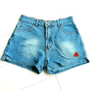 Vintage high waist  jeans short flower embroidery